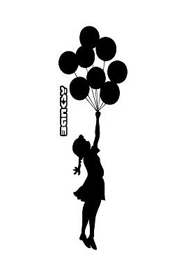 Banksy Framed Canvas Street  graffiti painting  Art Print girl balloons stencil