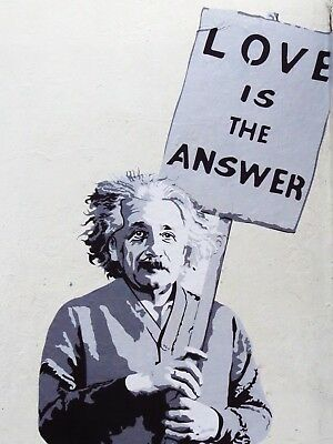 Banksy Framed Canvas Street  graffiti Urban  Art Print Love Is Answer Einstein