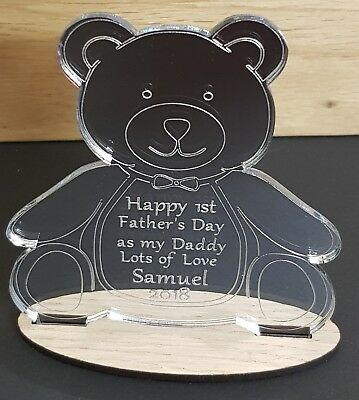Personalised First Fathers Day Gift Engraved Teddy Bear Mirror Keepsake Plaque