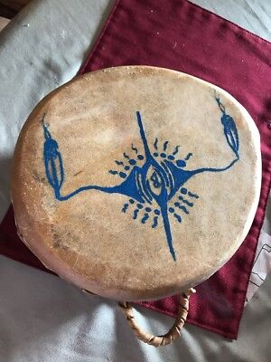 Native American Indian Drum Painted Wood Rawhide