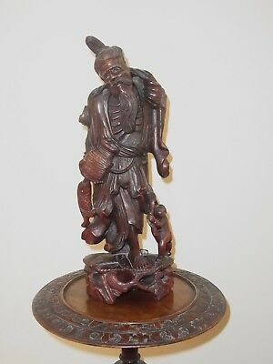 19Th Century Japanese Carved  Wood Figure Of Old Man With Fish And Figure Meji