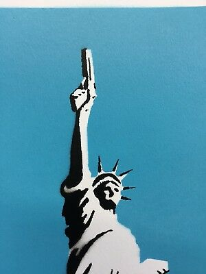 Banksy Framed Canvas Street  graffiti Urban Art Print statue liberty stencil