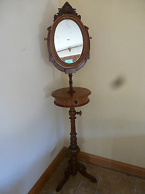Victorian Walnut Gentlemans Shaving Stand With Oval Mirror And Draw