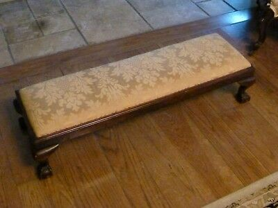 Antique Victorian Long Mahogany Footstool With Ball & Claw Feet
