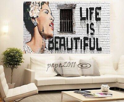 Banksy Framed Canvas Street  graffiti Urban  Art Print Life Is Beautiful