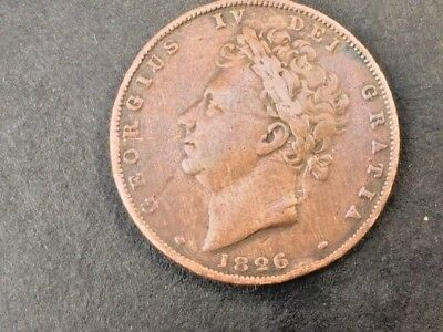 1826 George IV Copper Farthing in Good Grade-a - V/F (Nice Blue Green Toning)