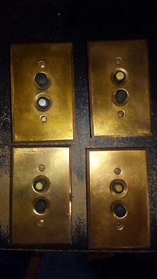 lot of 4 vintage push button light switches switch with brass covers