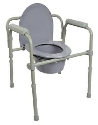 Commode Chair, Folding Steel Frame, Seat Lid Back, Fixed Arm, 7.5 Quart Bucket