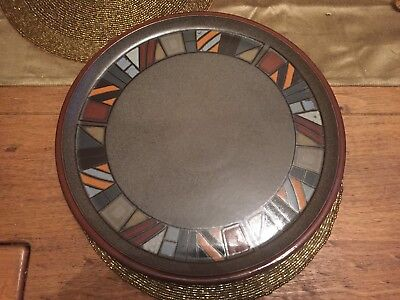 Denby Marrakesh Brown Large Round Serving Platter Pizza Plate Gateaux