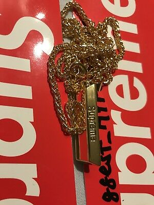 Supreme Gold Bar Chain Kette Anhänger Key Off Black Red white Uzi lime grey tee