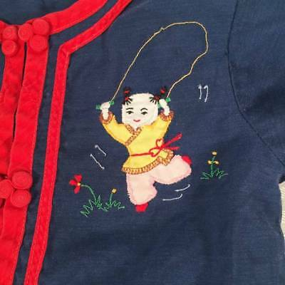Vintage Real Chinese Embroidered Applique Childrens Pajamas~Size 2