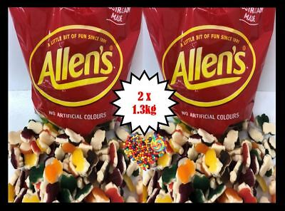 ALLENS RACING CARS  2 x 1.3KG BULK BUY COLOURFUL LOLLIES FREE POSTAGE