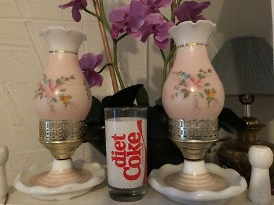 Pair Of Vtg Antique Pink  Rose Victorian Hurricane Glass Table Lamp handpainted
