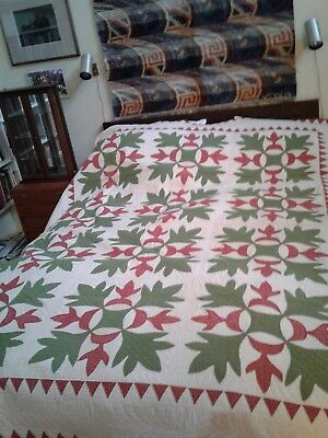 1800s red and green antique oak leaf and reel quilt