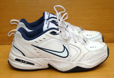 NIKE Air Monarch IV White / Navy Cross-Trainers Shoes 415445-102 Men's 8