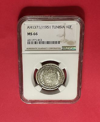 Tunisia -Unc ,ah1371//1951 Silver 10 Francs -Ngc Ms66 -Extra Rare,low Mintage.