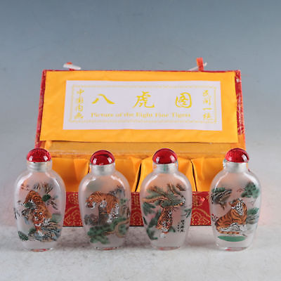 Exquisite Glass Hand Carved Fierce Tigers Snuff Bottles 4 Pcs TBY04