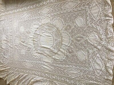 Circa 1920, Ornate Normandy Lace Bedspread/bed Canopy Cover