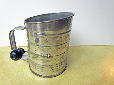 Vintage Bromwell's Aluminum 3 Cup Measuring Sifter Black Handle Pat.No.1.753.995