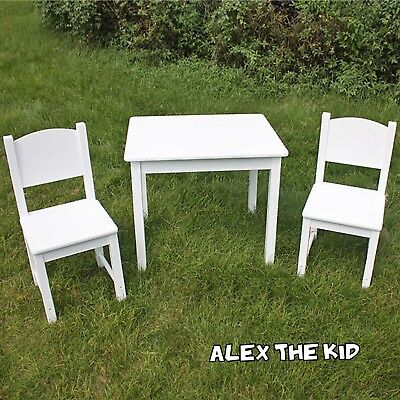Childrens Wooden Table and Chair Set Kids Table White Timber Furniture