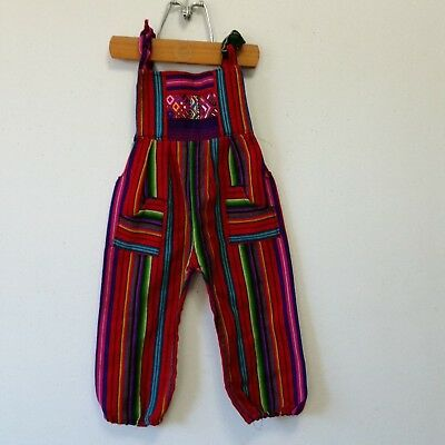 Boho Baby Handwoven Overalls Guatemala Bright Stripes  Approx Size 18 Months