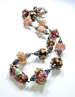 Vintage Purple Pink Orange Art Glass Lampwork Art Glass Bead Necklace FE18146