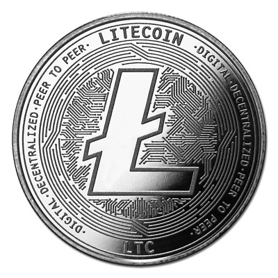Bitcoin Cryptocurrency Litecoin (LTC) - In Code We Trust 1 oz Silver BU Round