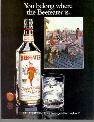 1982 Beefeater London Dry Gin Boats Dock England Harbor Vintage Print Ad 80s