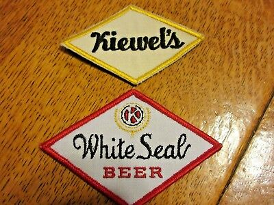 2 vintage Kiewel Kiewel's Beer White Seal Patches, Little Falls Minnesota