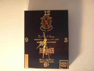 Arturo Fuente opus X cigar box clock, black w/gold numbers and arms