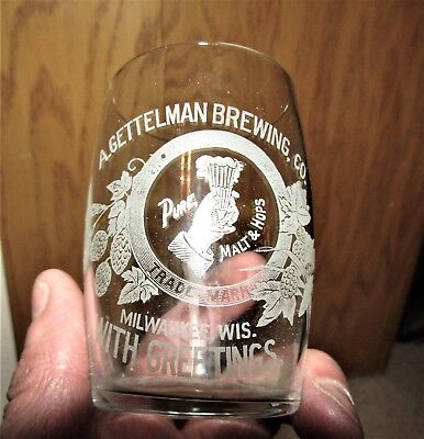 A. GETTELMAN BREWING CO. PRE-PRO etched glass MILWAUKEE, WISCONSIN