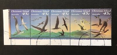 Christmas Island 1993 Seabirds Strip 5 Cto With Gum
