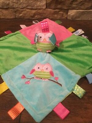 """TAGGIES Signature MARY MEYER BABY multi colored OWL Security Blanket Lovey 13"""""""