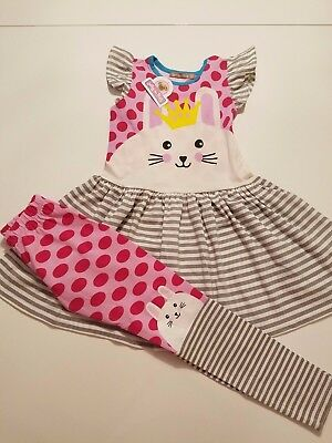 Jelly the pug girls cotton Easter bunny dress and leggings 6