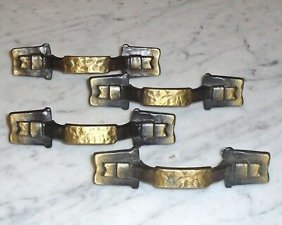 4 Vintage Amerock Hammered Brass Carriage House Cabinet Drawer Pull Handles