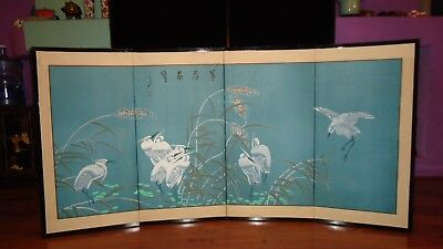 Japanese Vintage 4 Panel Silk Screen Hand Painted Crane Scene Post-1940 Good