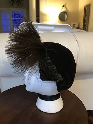 Vintage 30s 40s Hat Brown With Feathers
