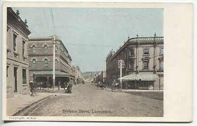 TASMANIA  c.1905: unused card by H.W. Grattan w/view BRISBANE STREET LAUNCESTON