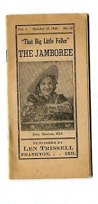 Vintage Issue THE JAMBOREE MAGAZINE Oct 26 1940 Len Trissel Frankton IN early