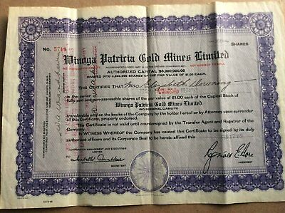 Minoga Patricia Gold Mines stock certificate No. 5714, 100 shares, 1937 Ontario
