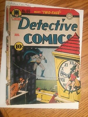 detective comics 66 aug 1942 just the front and back cover no pages 1st two face