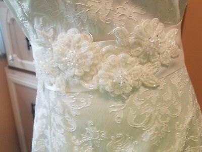 Wedding dress belt sash w/ embroidery and beading make a plan dress fancy white