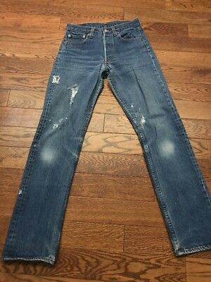 Vintage Distressed Made In USA Levis 501 Denim Jeans - 28.5 X 29.5