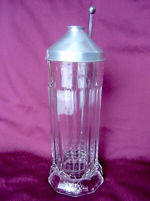 Vintage Glass Jar Sani-Straw Dispenser / Holder w/ Lid & Lifter Pat. Jan 2, 1917