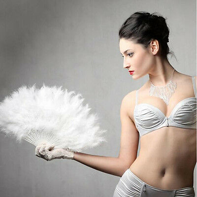 Women Feather Fan Dance Props Hand Goose Feather Folding Nice Wedding Fan SE