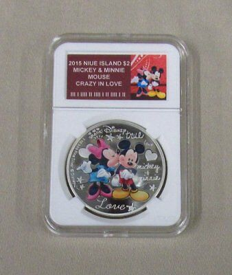 Niue 2015 $2 Disney - Crazy in Love Mickey & Minnie Mouse Proof 1 oz Silver Coin