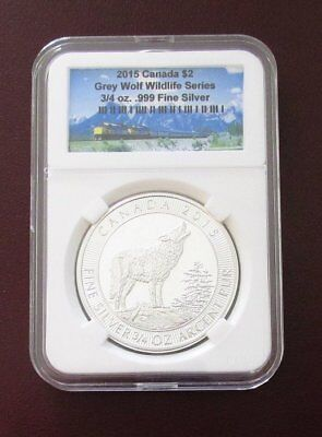 2015 $2 Canadian Wildlife Series Grey Wolf  .9999 Fine Silver 3/4 oz Coin