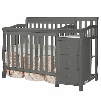 Gray Mini Size Convertible 4-in-1 Crib Bed Baby Toddler Nursery Changer Side
