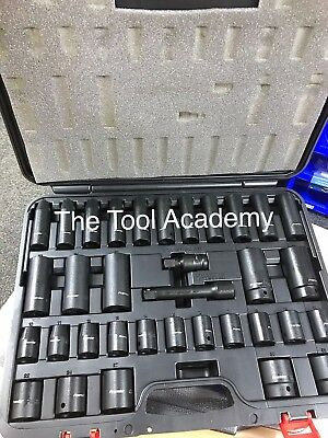 Sealey Air Impact Wrench Socket Set 34 Piece 1/2 Square Drive Metric 10 - 32mm