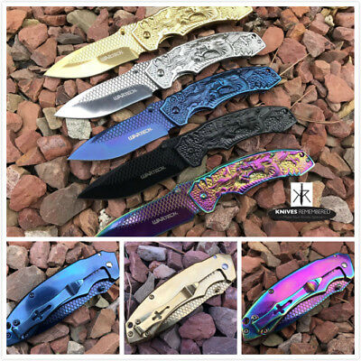 Monogram Custom Tactical Engraved Personalized Knife FANTASY DRAGON ETCHED